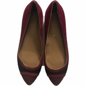 Talbot Leather Red Black Pointed Toe Flats